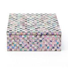 체크 정사각 자개함(중) lacquered check square pearl box(M)